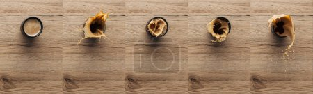 collage of splashing coffee in cup on wooden table