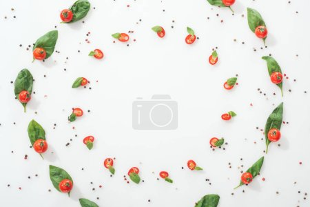 Photo for Flat lay with spices and sliced chili peppers with basil and ripe cherry tomatoes - Royalty Free Image