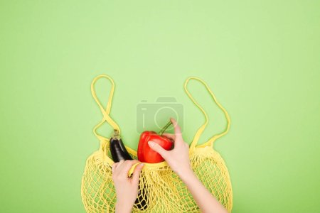 Photo for Cropped view of female hands, red bell pepper and eggplant in yellow string bag on light green background - Royalty Free Image