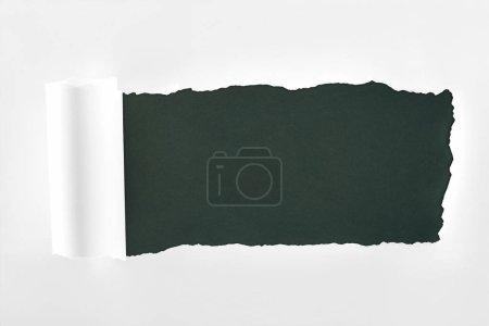 Photo pour Papier blanc texturé en lambeaux avec bord roulé sur fond noir - image libre de droit