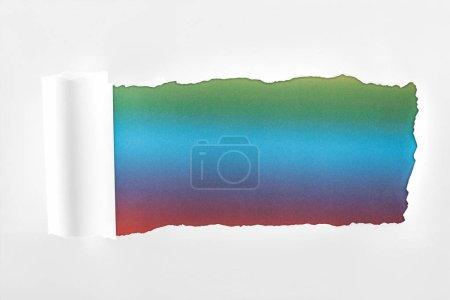 Foto de Papel blanco rasgado con borde enrollado en fondo multicolor - Imagen libre de derechos