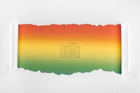 Photo pour Papier blanc texturé déchiré avec bords bouclés sur fond multicolore - image libre de droit