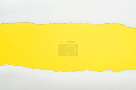 ripped white textured paper with copy space on yellow background