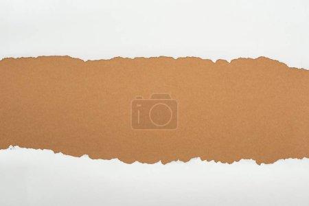 Photo pour Papier texturé blanc déchiqueté avec espace de copie sur fond brun - image libre de droit