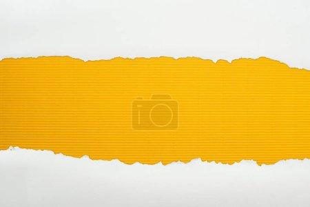 Photo pour Papier texturé blanc déchiré avec espace de copie sur fond jaune rayé - image libre de droit