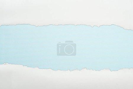 Photo pour Papier texturé blanc Ragged avec espace de copie sur fond rayé bleu clair - image libre de droit