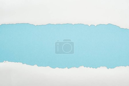 Photo for Ragged white and textured paper with copy space on light blue background - Royalty Free Image