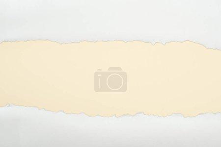 Photo pour Papier texturé blanc Ragged avec espace de copie sur fond beige - image libre de droit