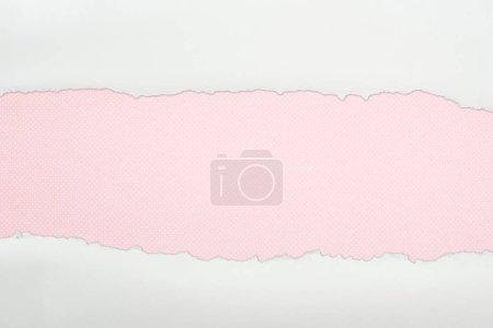 Photo pour Papier texturé blanc Ragged avec espace de copie sur fond rose - image libre de droit