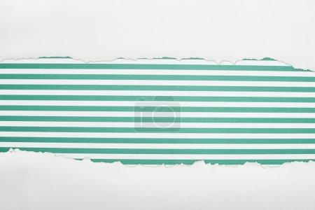 Photo pour Papier texturé blanc Ragged avec espace de copie sur fond rayé vert - image libre de droit