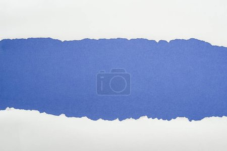 Photo for Ragged white textured paper with copy space on deep blue background - Royalty Free Image