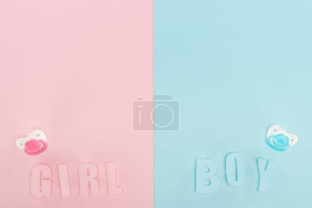 Photo for Top view of pacifiers, boy, girl lettering on pink and blue background with copy space - Royalty Free Image
