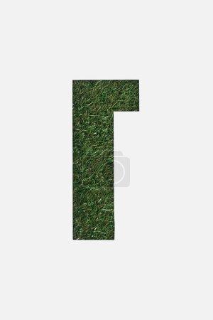 Photo pour Découper la lettre cyrillique avec frais herbe verte sur fond isolé sur blanc - image libre de droit