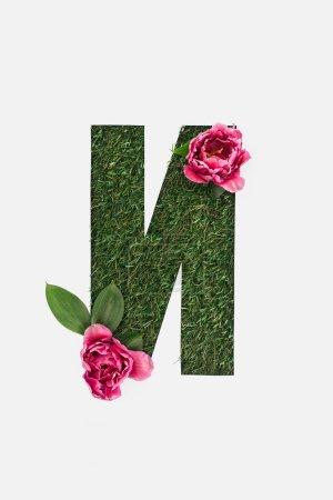 découper lettre cyrillique faite d'herbe verte avec des feuilles et des pivoines roses isolées sur blanc