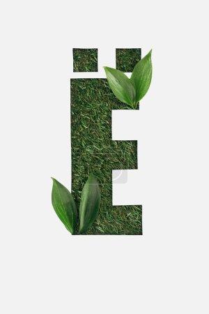Foto de Vista superior de la letra cirílica con hierba verde de fondo y hojas brillantes en rincones aislados en blanco - Imagen libre de derechos