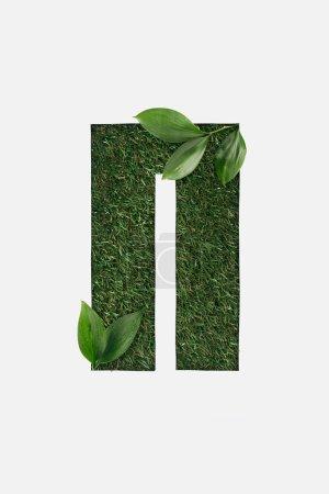 Foto de Vista superior de la letra cirílica con hierba verde de fondo y hojas naturales en rincones aislados en blanco - Imagen libre de derechos