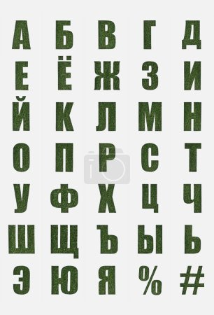 Photo for Cyrillic letters from russian alphabet made of green grass isolated on white - Royalty Free Image