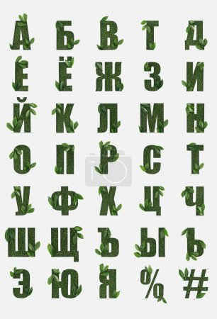 Photo for Cyrillic letters from russian alphabet made of green grass with fresh leaves isolated on white - Royalty Free Image