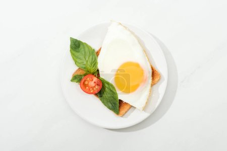 Photo for Top view of toast with fried egg, basil and cut tomato cherry on plate on white surface - Royalty Free Image