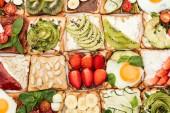 """Постер, картина, фотообои """"Вид сверху тосты, фрукты, овощи и арахис"""""""