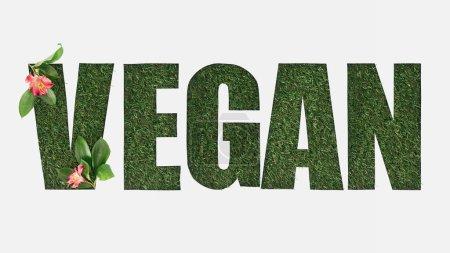 Foto de Vista superior de corte vegano letras sobre fondo verde hierba con Alstroemeria flores y hojas aisladas en blanco - Imagen libre de derechos