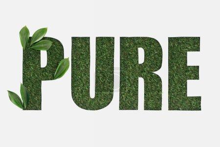 Photo pour Vue de dessus de découpe de lettrage pure sur l'herbe verte avec des feuilles isolé sur blanc - image libre de droit