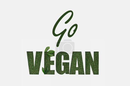 top view of green go vegan lettering with leaves isolated on white