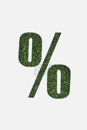 top view of cut out percent sign on green grass background isolated on white