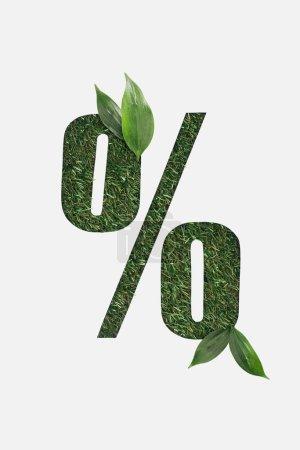 Foto de Vista superior de corte signo de porcentaje en el fondo de hierba verde con hojas verdes aisladas en blanco - Imagen libre de derechos