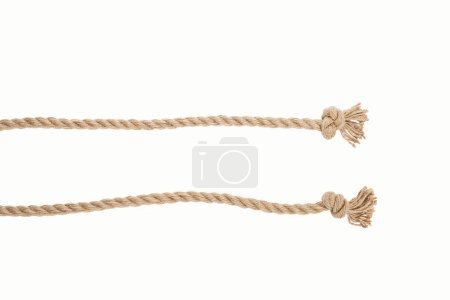 lines of brown jute ropes with knots isolated on white