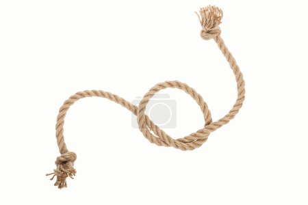 Photo for Jute curled rope with sailor knot isolated on white - Royalty Free Image