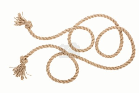Photo for Brown jute rope with curls and knots isolated on white - Royalty Free Image