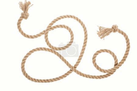 jute rope with curls and knots isolated on white