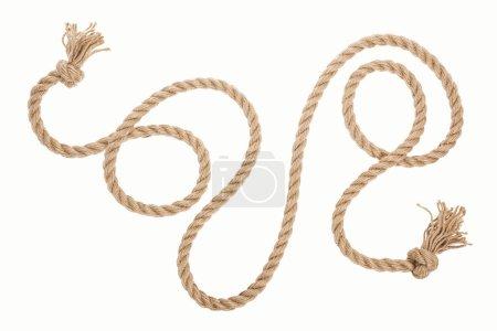 Photo pour Corde brune longue avec boucles et nœuds isolés sur blanc - image libre de droit