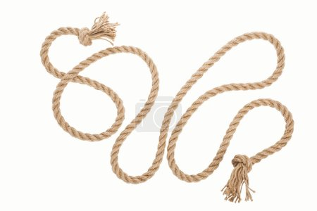 Photo for Long jute rope with curls and knots isolated on white - Royalty Free Image