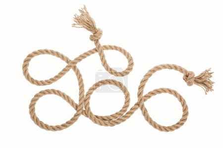 Photo for Long brown jute rope with knots and curls isolated on white - Royalty Free Image