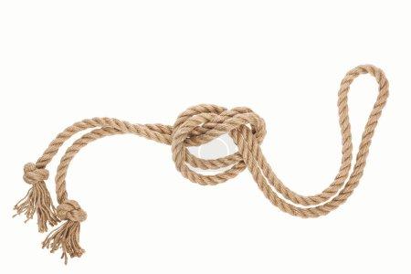 Photo pour Corde de jute nautique avec noeud marin isolé sur blanc - image libre de droit