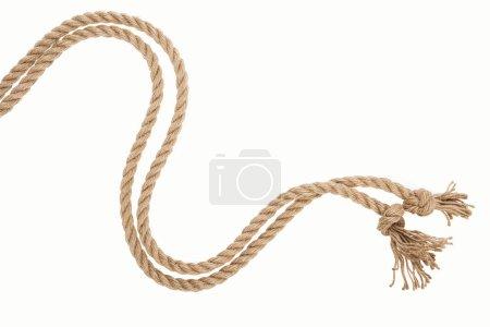 Photo pour Corde ondulée brune et jute isolée sur blanc - image libre de droit