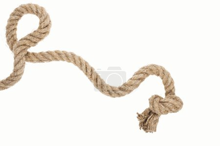 Photo for Thick jute and brown rope with knot isolated on white - Royalty Free Image
