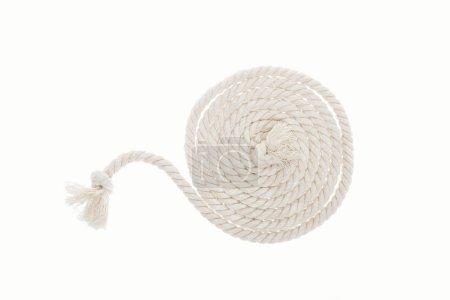 Foto de Blanca larga cuerda con nudos aislados en blanco - Imagen libre de derechos