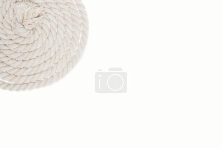 white, long and curled rope isolated on white
