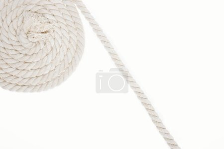 Photo for White, curled and long rope isolated on white - Royalty Free Image