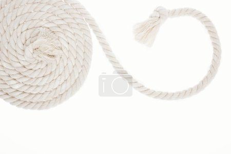 Photo for White, curled and long rope with knot isolated on white - Royalty Free Image