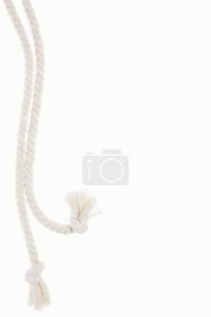 white long ropes with knots isolated on white