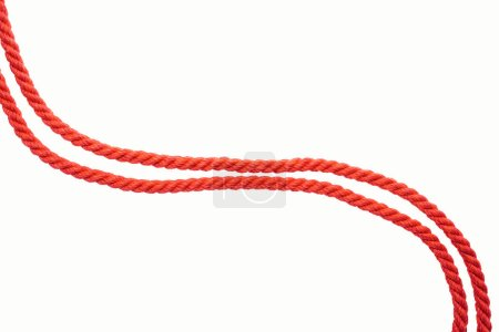 lines of red waved ropes isolated on white