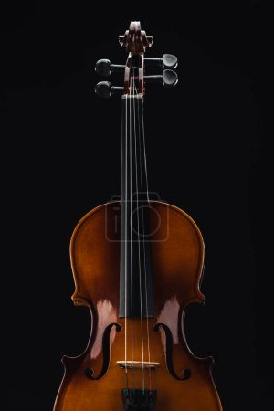 Photo for Top view of classical wooden violoncello isolated on black - Royalty Free Image