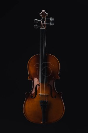 Photo for Top view of classical wooden cello isolated on black - Royalty Free Image