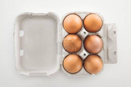 Photo pour Vue de dessus des oeufs de poulet bruns crus dans la boîte de carton sur le fond blanc - image libre de droit