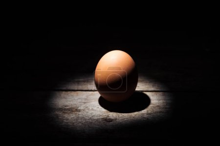 Photo for Brown chicken egg in darkness on weathered wooden surface - Royalty Free Image