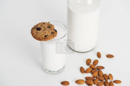 Photo for Organic almond milk in bottle and glass with chocolate cookie - Royalty Free Image
